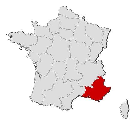 highlights: Mapa pol�tico de Francia con las diversas regiones donde se Provenza-Alpes-C�te d'Azur se destaca.