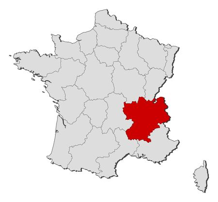 rhone: Political map of France with the several regions where Rh�ne-Alpes is highlighted.