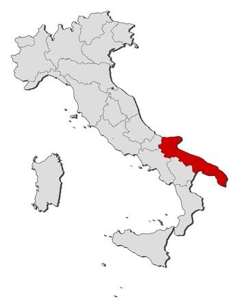 highlighted: La mappa politica d'Italia con le varie regioni in cui viene evidenziata la Puglia.