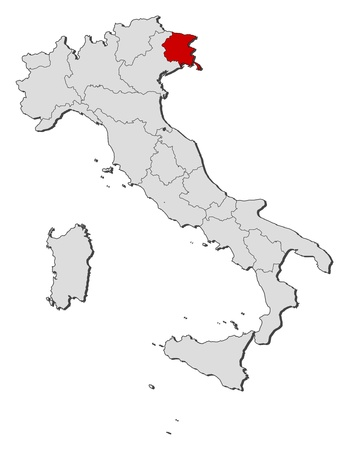 Political map of Italy with the several regions where Friuli-Venezia Giulia is highlighted.
