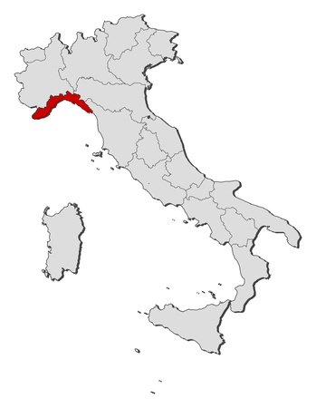 liguria: Political map of Italy with the several regions where Liguria is highlighted.