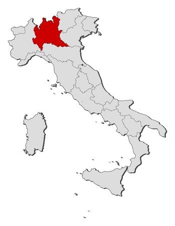 highlighted: La mappa politica d'Italia con le varie regioni in cui viene evidenziata la Lombardia.