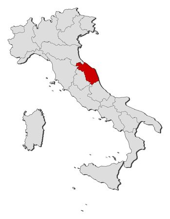 Political map of Italy with the several regions where Marche is highlighted. Illustration