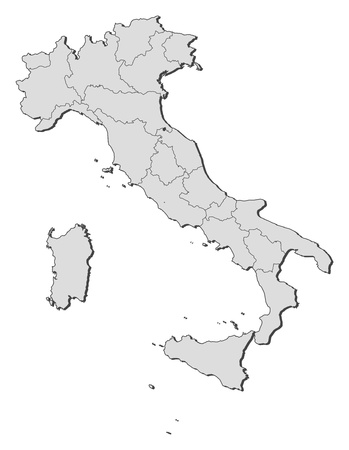 regions': Political map of Italy with the several regions.