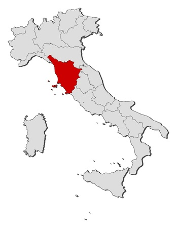 Political map of Italy with the several regions where Tuscany is highlighted.