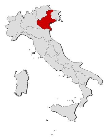 general maps: Political map of Italy with the several regions where Veneto is highlighted. Illustration