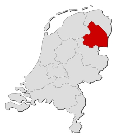 shady: Political map of Netherlands with the several states where Drenthe is highlighted.