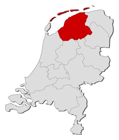 Political map of Netherlands with the several states where Friesland is highlighted. Illustration