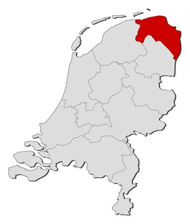 Political map of Netherlands with the several states where Groningen is highlighted.