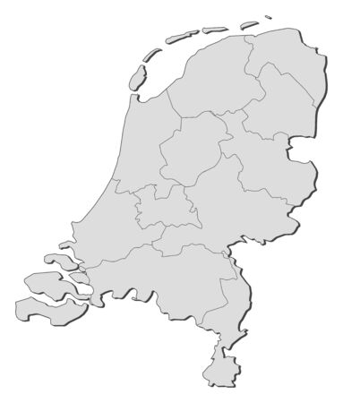 Political map of Netherlands with the several states. Vector