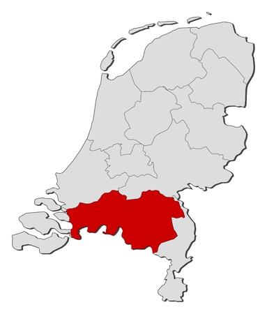highlighted: La mappa politica dei Paesi Bassi con i diversi Stati in cui si evidenzia Brabante Settentrionale.