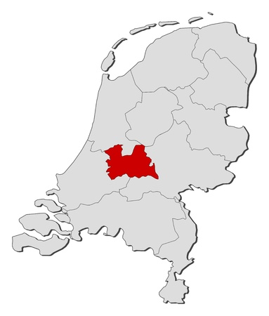 shady: Political map of Netherlands with the several states where Utrecht is highlighted.