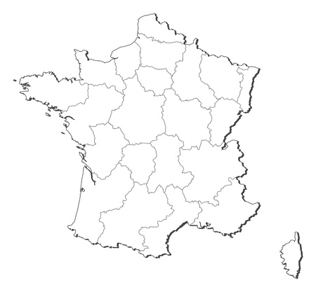 prov�ncia: Political map of France with the several regions.