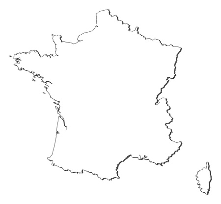 Political map of France with the several regions. Vector