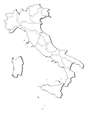 Political map of Italy with the several regions. Vector