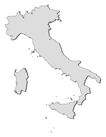 Political map of Italy with the several regions.