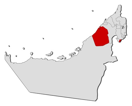 highlighted: Mappa politica degli Emirati Arabi Uniti con i vari emirati dove viene evidenziato Dubai. Vettoriali