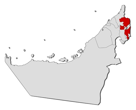 southwestern asia: Political map of the United Arab Emirates with the several emirates where Fujairah is highlighted.