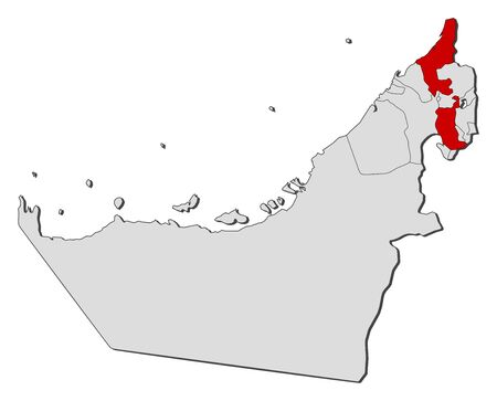 Political map of the United Arab Emirates with the several emirates where Ras al-Khaimah is highlighted. Illustration