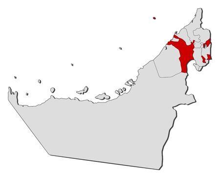 Political map of the United Arab Emirates with the several emirates where Sharjah is highlighted.