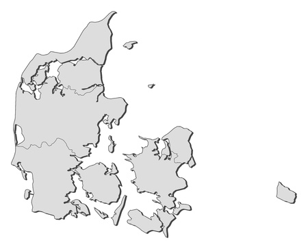 Political map of Danmark with the several regions. Vector