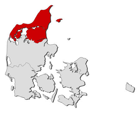 Political map of Danmark with the several regions where North Denmark is highlighted.