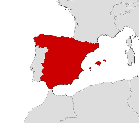 shady: Political map of Spain with the several regions.
