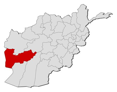 Political map of Afghanistan with the several provinces where Farah is highlighted. Illustration