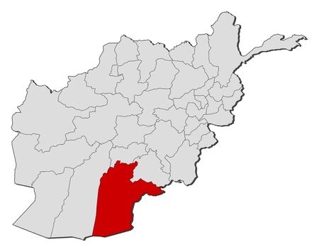Political map of Afghanistan with the several provinces where Kandahar is highlighted. Illustration