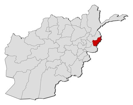 Political map of Afghanistan with the several provinces where Kunar is highlighted.