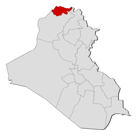 Political map of Iraq with the several governorates where Dohuk is highlighted.