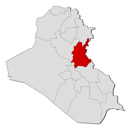 Political map of Iraq with the several governorates where Diyala is highlighted.