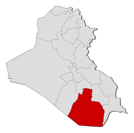 al: Political map of Iraq with the several governorates where Al Muthanna is highlighted.