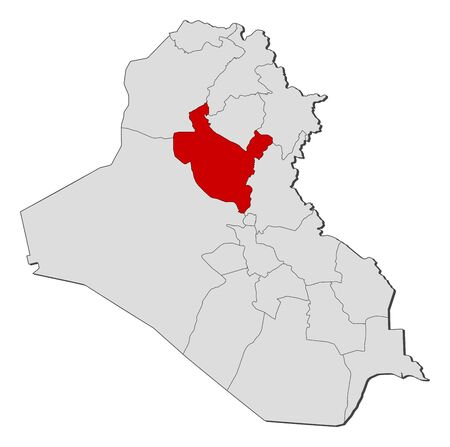 western asia: Political map of Iraq with the several governorates where Salah ad Din is highlighted.