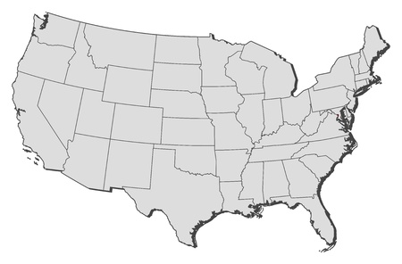 Political map of United States with the several states where Washington, D.C. is highlighted. Vector