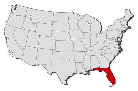 Political map of United States with the several states where Florida is highlighted.