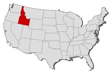 Political map of United States with the several states where Idaho is highlighted. Vector