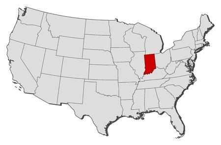 highlighted: Mappa politica degli Stati Uniti con i diversi Stati in cui � evidenziato Indiana. Vettoriali