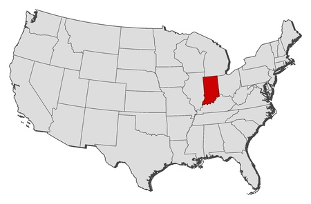 shady: Political map of United States with the several states where Indiana is highlighted.