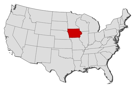 Political map of United States with the several states where Iowa is highlighted. Illustration
