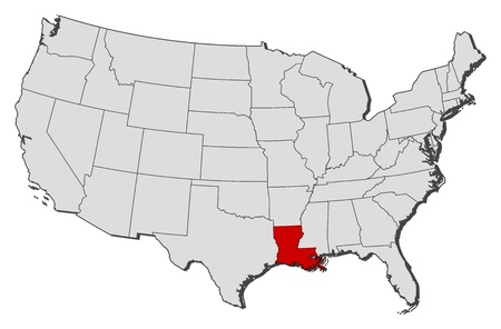 shady: Political map of United States with the several states where Louisiana is highlighted.