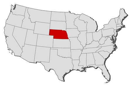 highlighted: Political map of United States with the several states where Nebraska is highlighted.