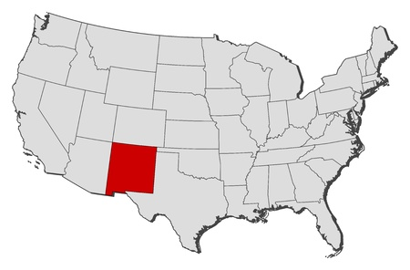 shady: Political map of United States with the several states where New Mexico is highlighted.