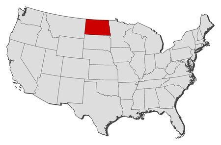 Political map of United States with the several states where North Dakota is highlighted.