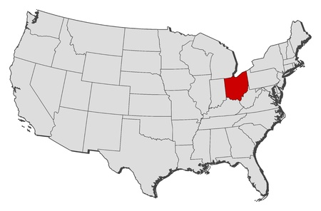 where: Political map of United States with the several states where Ohio is highlighted. Illustration