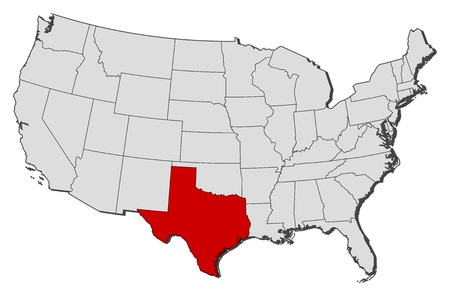 Political map of United States with the several states where Texas is highlighted.