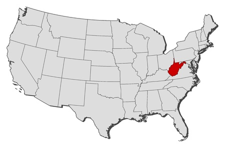 Political map of United States with the several states where West Virginia is highlighted. Vector
