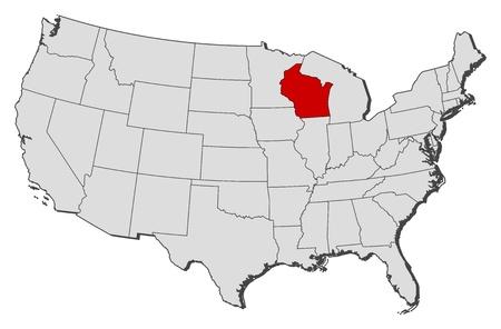 highlighted: Mappa politica degli Stati Uniti con i diversi Stati in cui si evidenzia Wisconsin. Vettoriali