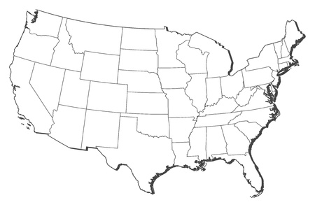 us territory: Political map of the United States with the several states.