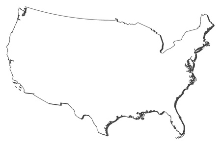 outline red: Political map of the United States with the several states.